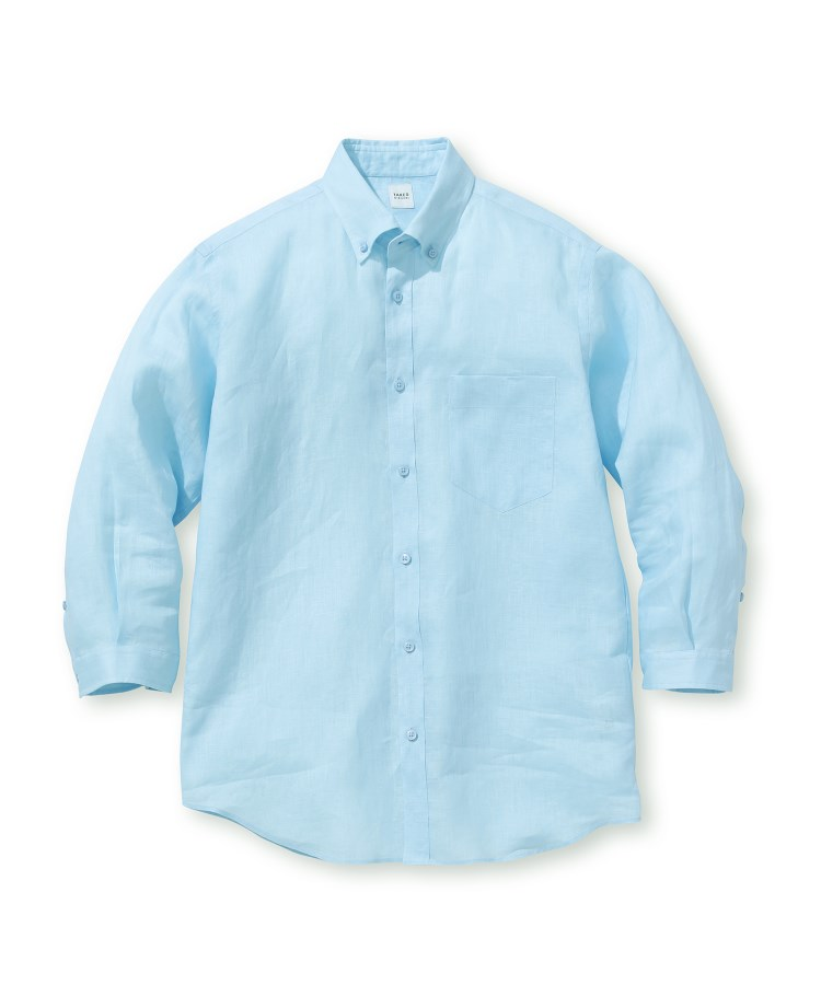 TAKEO KIKUCHI(タケオキクチ)リネン ボタンダウン 7分袖 シャツ