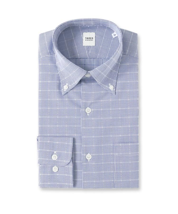 TAKEO KIKUCHI(タケオキクチ)ホワイトペインギンガム ビジネスシャツ