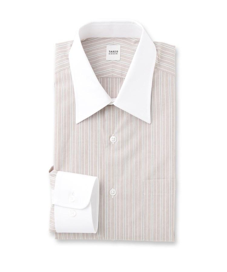 TAKEO KIKUCHI(タケオキクチ)【Sサイズ~】ランダムストライプクレリック ビジネスシャツ