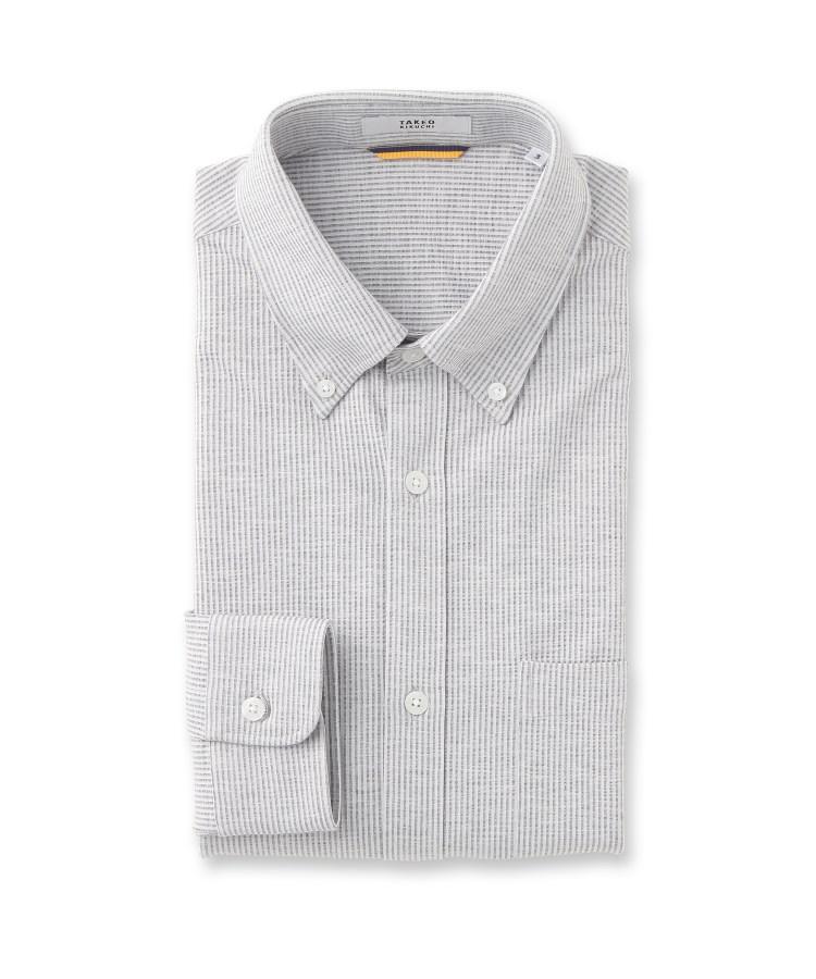 TAKEO KIKUCHI(タケオキクチ)ストライプニットサッカーシャツ