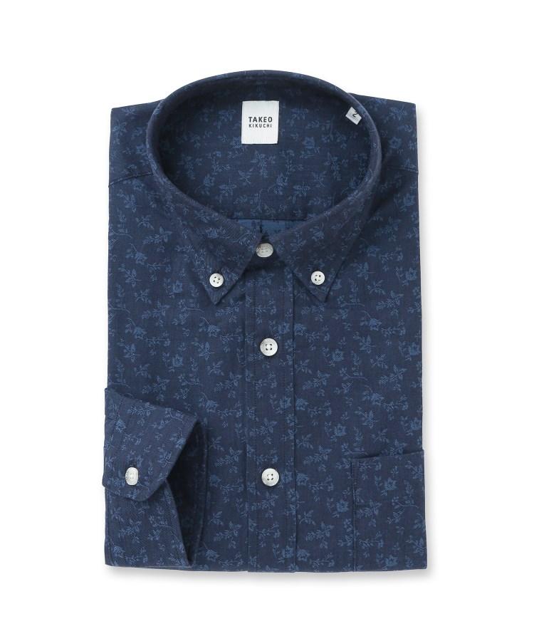 TAKEO KIKUCHI(タケオキクチ)【Sサイズ~】反応染めデニムジャガードシャツ