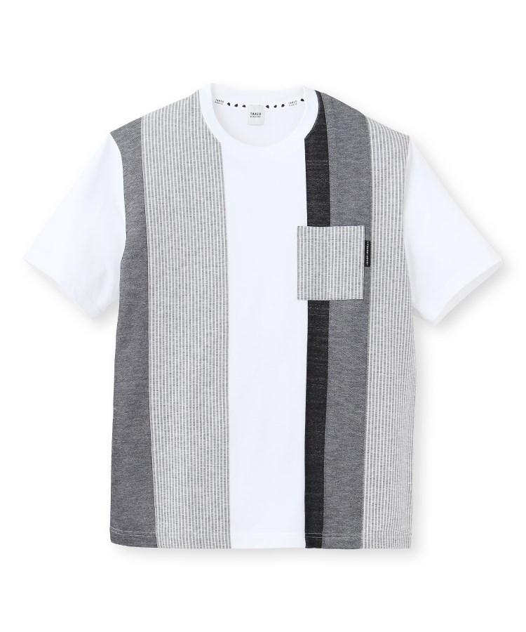 TAKEO KIKUCHI(タケオキクチ)【Sサイズ~】ストライプ切り替え クルーネックポケットTシャツ