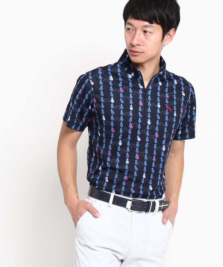 adabat(Men)(アダバット(メンズ))【UVカット】【遮熱効果】パイナップルストライプ半袖ポロシャツ