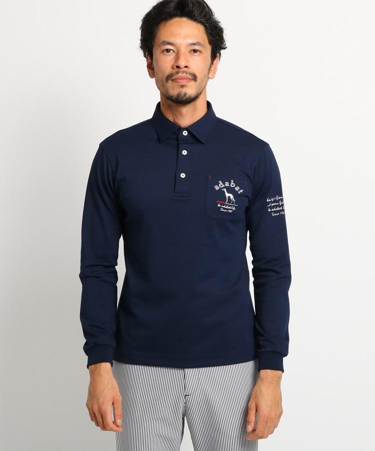 adabat(Men)(アダバット(メンズ))胸ポケット付き長袖ポロシャツ