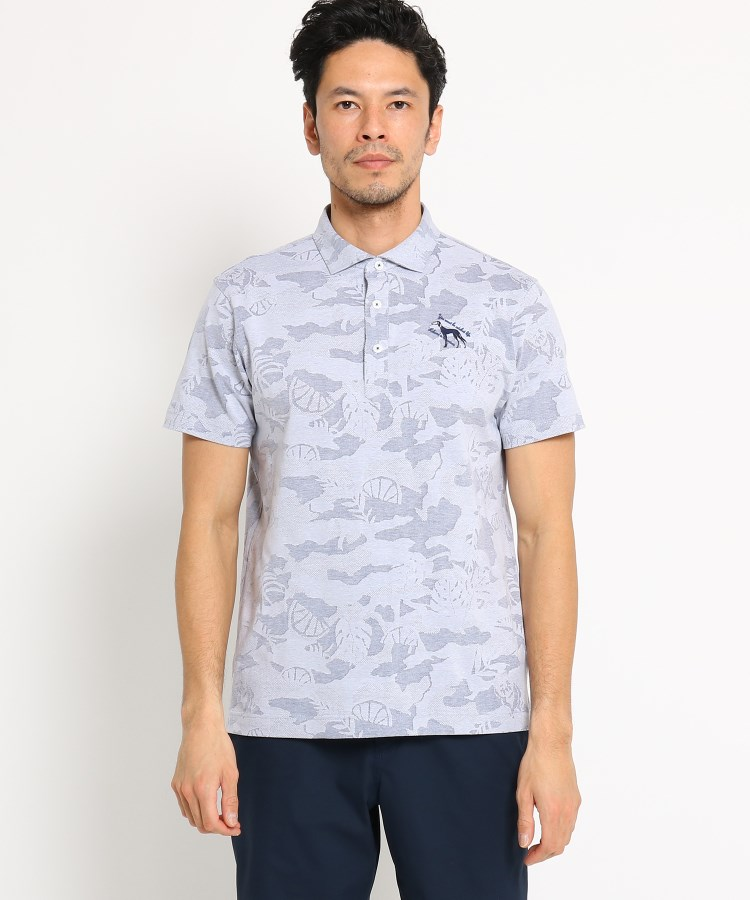 adabat(Men)(アダバット(メンズ))【吸水速乾】ボタニカル柄半袖ポロシャツ メンズ
