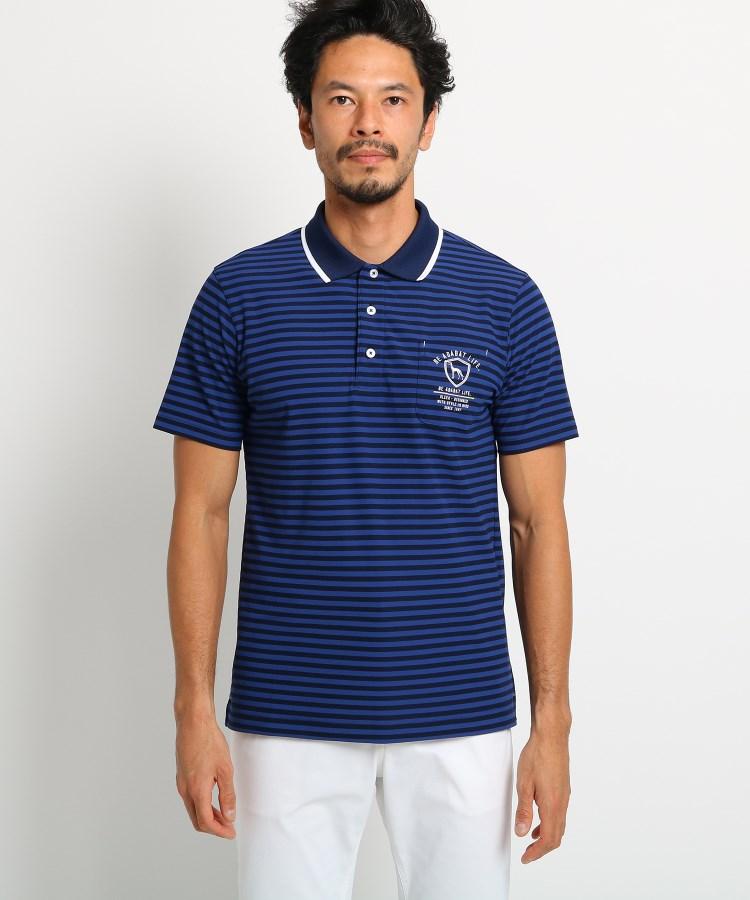 adabat(Men)(アダバット(メンズ))【吸水速乾/UVカット】胸ポケット付きボーダー半袖ポロシャツ