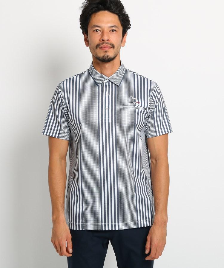 adabat(Men)(アダバット(メンズ))【吸水速乾/UVカット】マルチストライプ半袖ポロシャツ