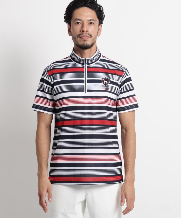 adabat(Men)(アダバット(メンズ))【吸水速乾/UVカット】マルチボーダーハーフジップ半袖ポロシャツ
