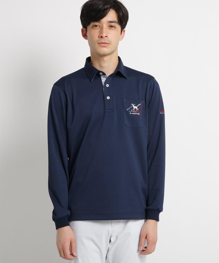 adabat(Men)(アダバット(メンズ))【吸水速乾/UVカット】胸ポケット付き長袖ポロシャツ