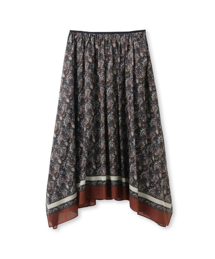 DRESSTERIOR(Ladies)(ドレステリア(レディース))シルクコットン スカーフ柄イレギュラーヘムスカート
