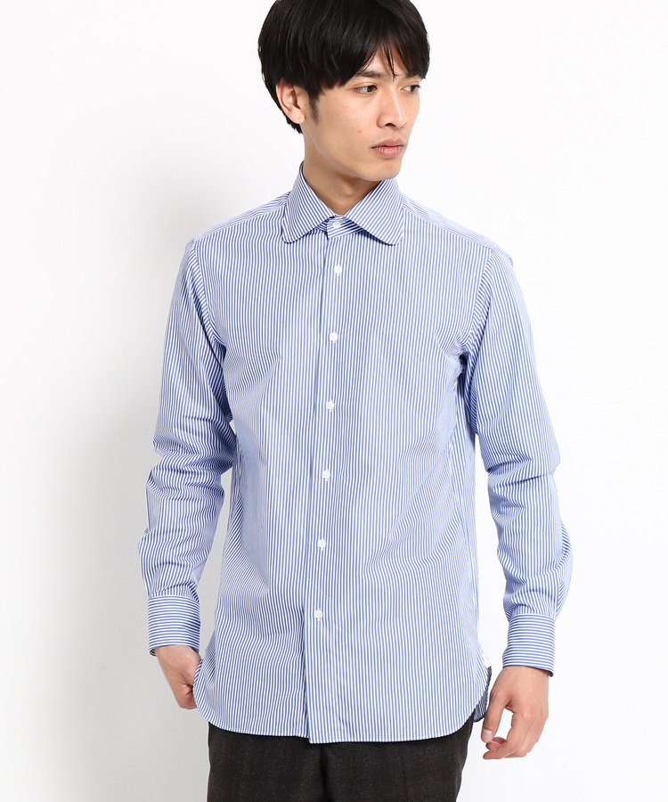 DRESSTERIOR(Men)(ドレステリア(メンズ))【洗える】ブルーストライプ ラウンドカラードレスシャツ