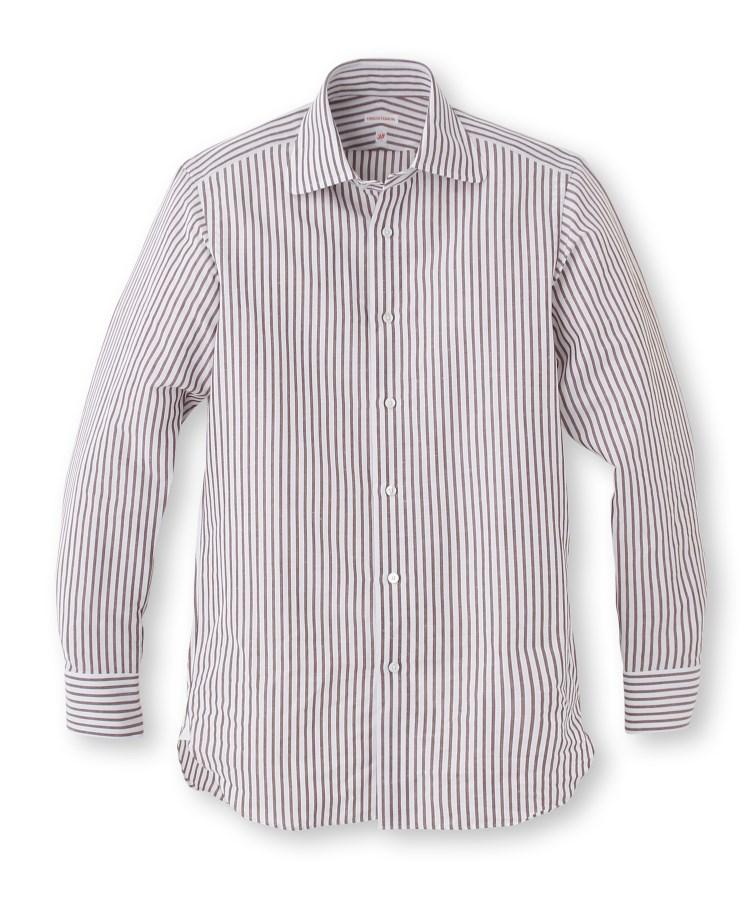 DRESSTERIOR(Men)(ドレステリア(メンズ))綿×麻ブラウンストライプシャツ