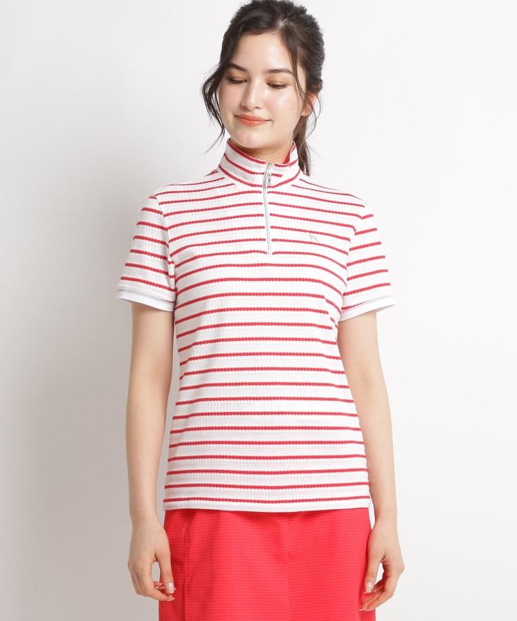 adabat(Ladies)(アダバット(レディース))【吸水速乾/UVカット】ボーダーハーフジップ半袖ポロシャツ