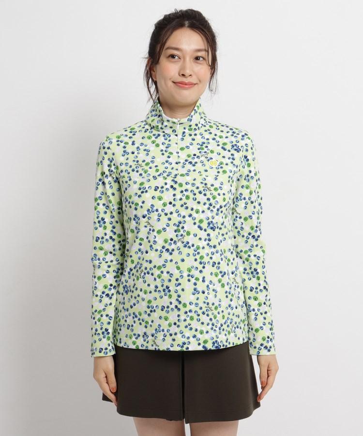 adabat(Ladies)(アダバット(レディース))ベリーモチーフ柄ハーフジップシャツ