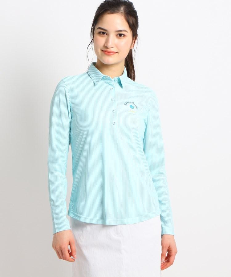 adabat(Ladies)(アダバット(レディース))【UVカット/防透け】ストライプ長袖ポロシャツ