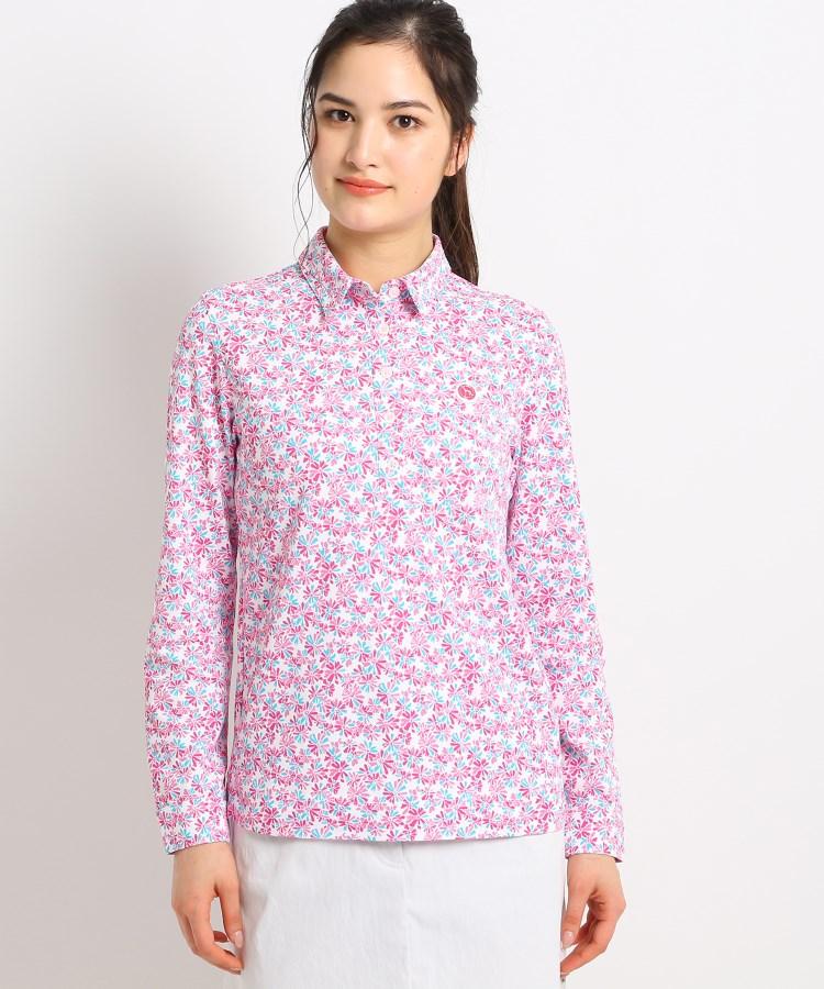 adabat(Ladies)(アダバット(レディース))【吸水速乾/UVカット】フラワープリント長袖ポロシャツ