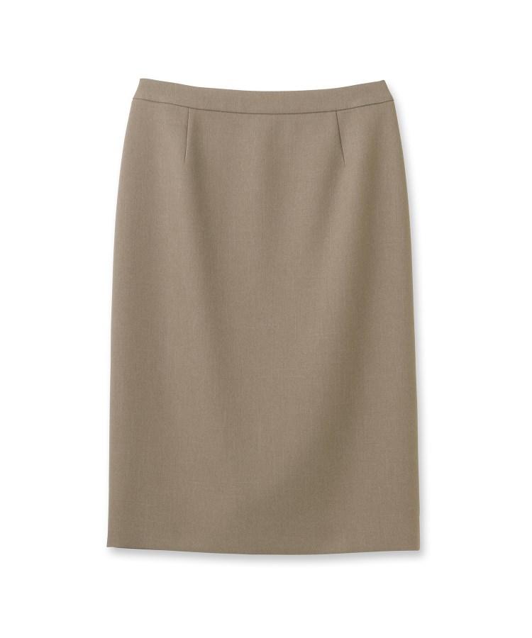 INDIVI(インディヴィ)[S]【マシンウォッシュ/UV/吸水速乾】ツムギートツイルバックスリットタイトスカート