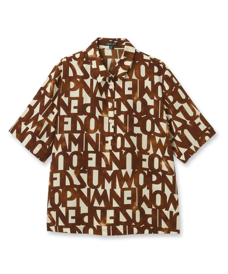 INDIVI(インディヴィ)【マシンウォッシュ】タイポグラフィプリントシャツ