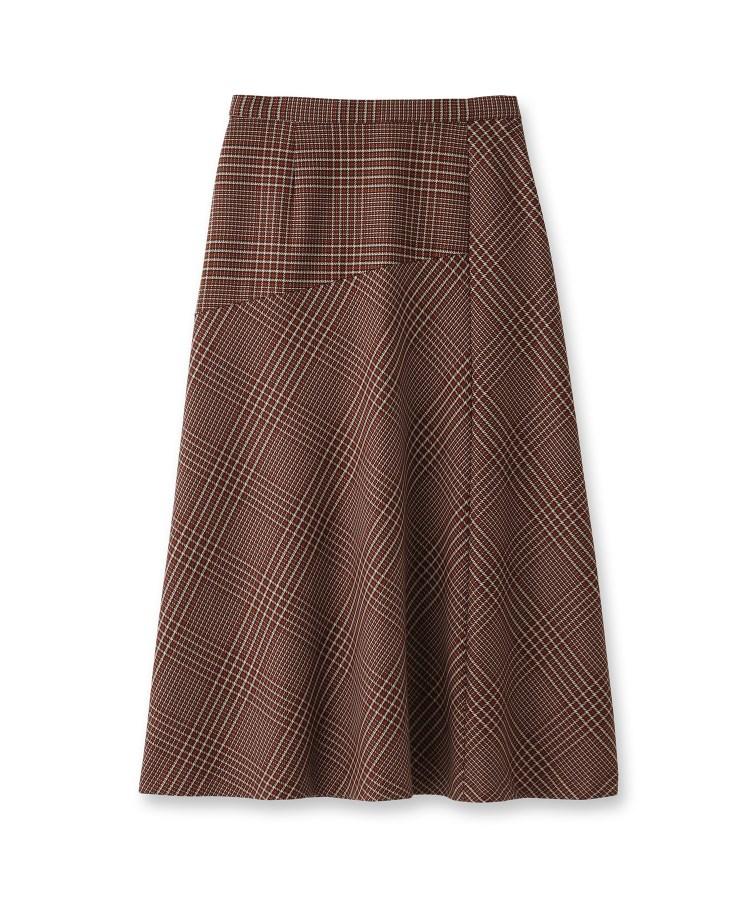 INDIVI(インディヴィ)【マシンウォッシュ】チェック柄アシメ切替スカート