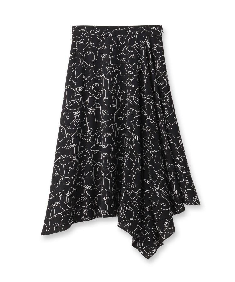 INDIVI(インディヴィ)[S]【マシンウォッシュ】ハンドペイントプリントスカート