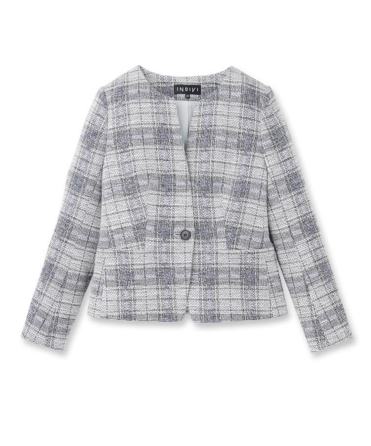 INDIVI(インディヴィ)[L]【ママスーツ/入学式 スーツ/卒業式 スーツ】ツィードチェックジャケット