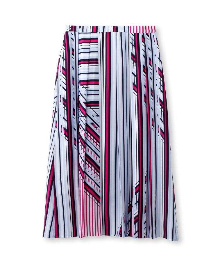 INDIVI(インディヴィ)[L]【マシンウォッシュ】ポリクロスレトロストライプロングスカート