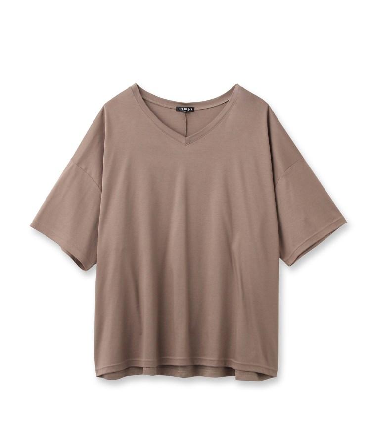 INDIVI(インディヴィ)【Lサイズ別注/マシンウォッシュ】スムースVネックTシャツ