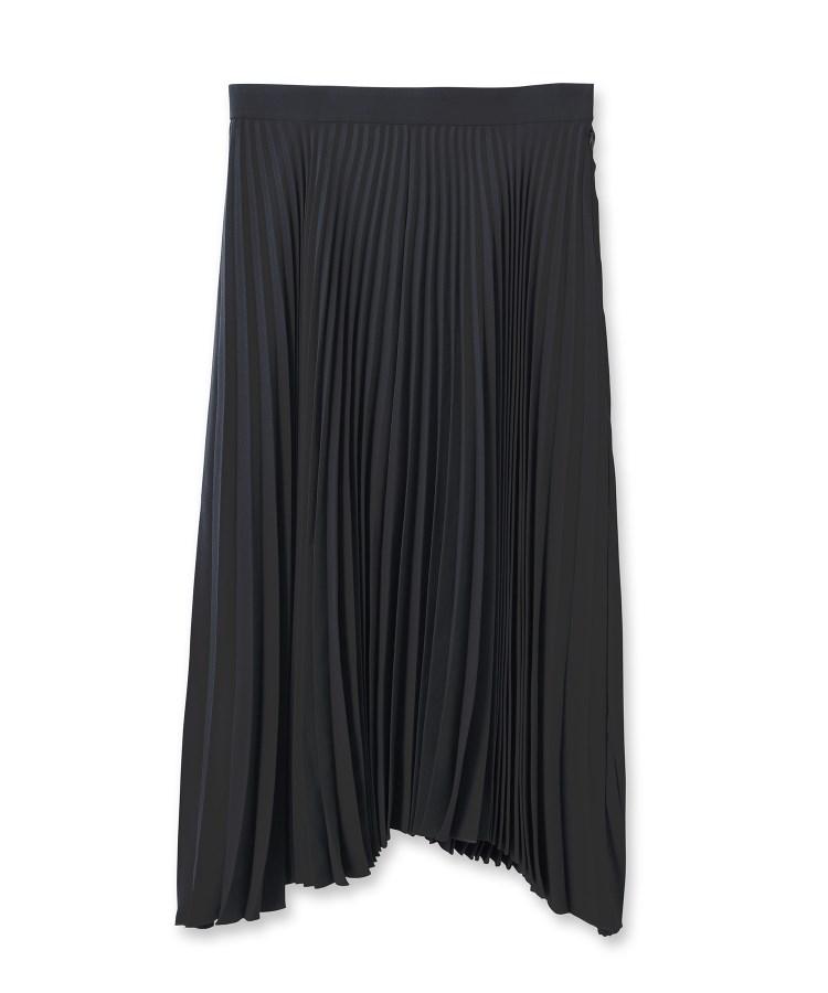 UNTITLED essential clue(アンタイトル エッセンシャルクルー)バックサテンイレギュラーヘムプリーツスカート