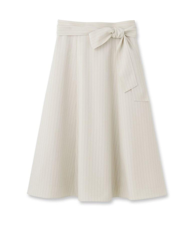 UNTITLED(アンタイトル)[L]【洗える】ウエストリボン ストライプフレアスカート