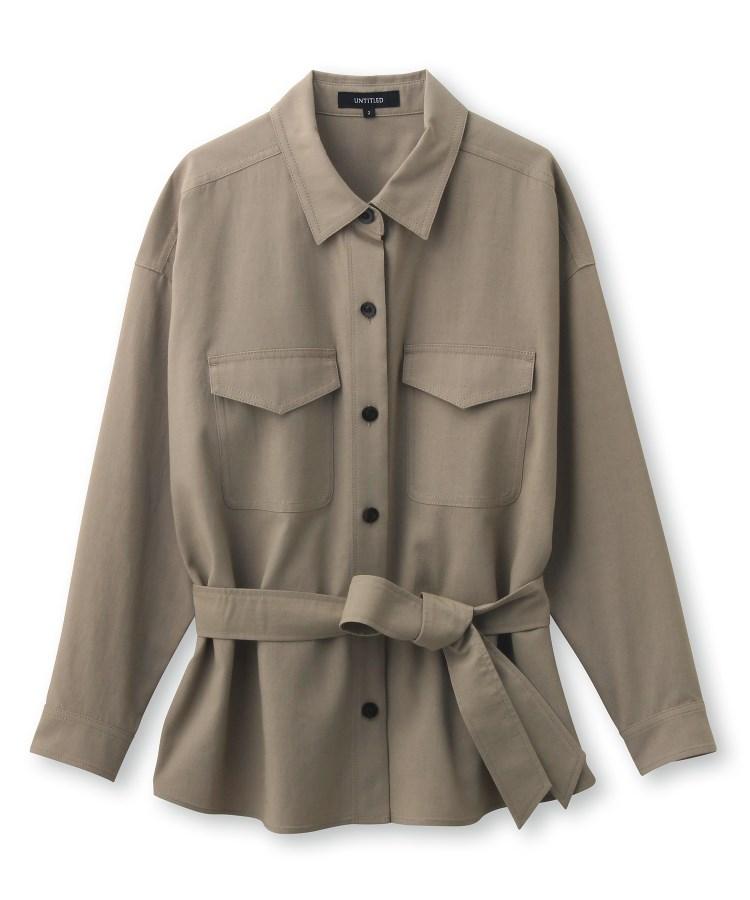UNTITLED(アンタイトル)【洗える】マットクロスベルトシャツジャケット