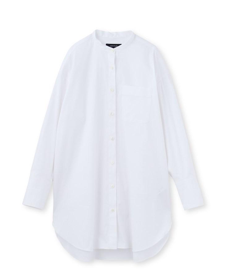 UNTITLED(アンタイトル)[L]【洗える】バンドカラーファインブロードシャツ