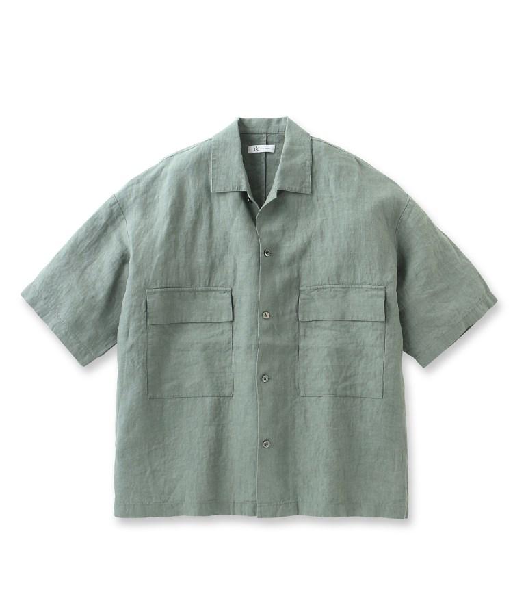 tk.TAKEO KIKUCHI(ティーケー タケオ キクチ)リネンワッシャーCPO 5分袖シャツ(セットアップ対応)