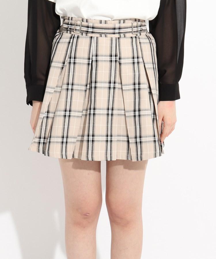 ≪スカート AL完売しました ミニスカート≫ PINK-latte ダブルバックルベルトプリーツスカート ピンク 保障 ラテ