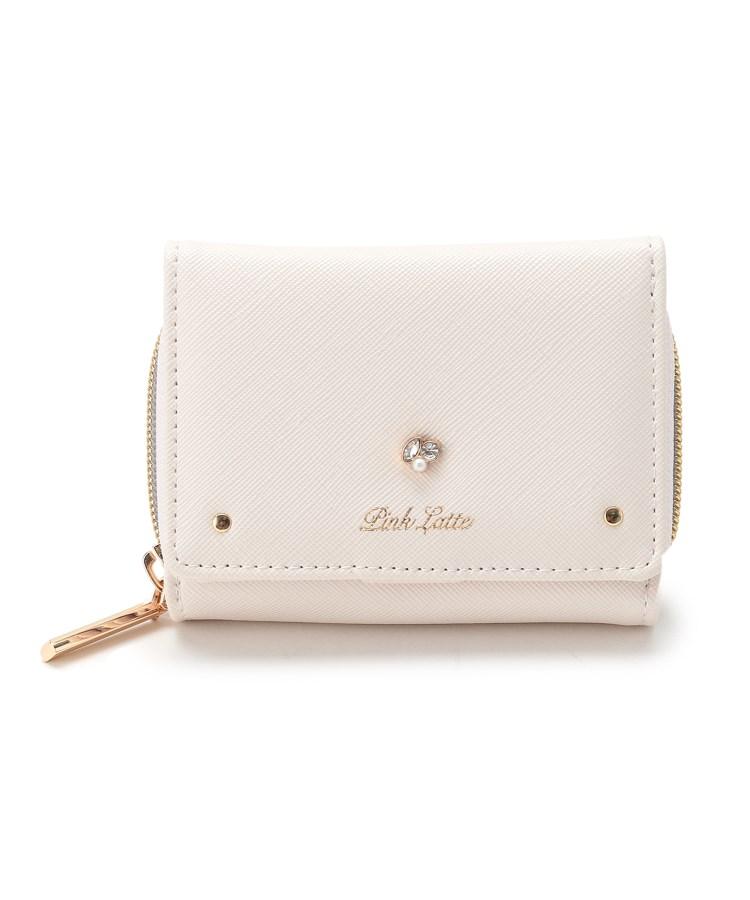 ≪バッグ 財布 小物入れ 財布≫ 捧呈 ピンク 1着でも送料無料 ラテ ビジューモチーフ三つ折り財布 PINK-latte