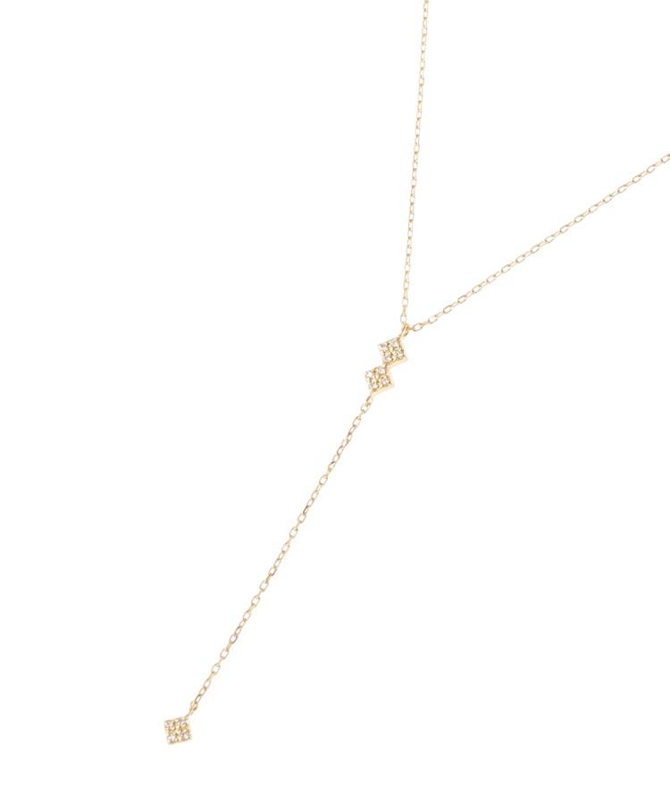 COCOSHNIK(ココシュニック)K18ダイヤモンド スクエアパヴェY字 ネックレス
