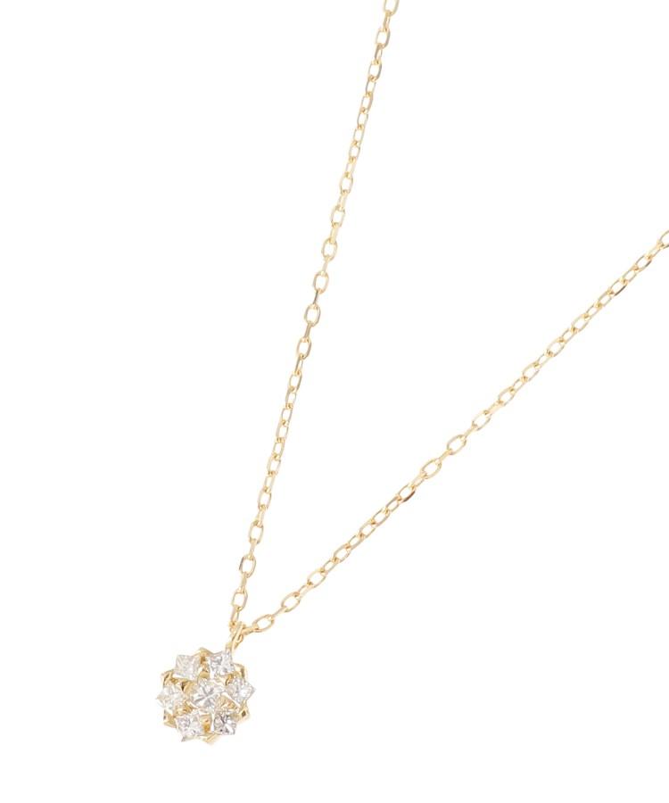 COCOSHNIK(ココシュニック)K18ダイヤモンド プリンセスカット取巻き ネックレス