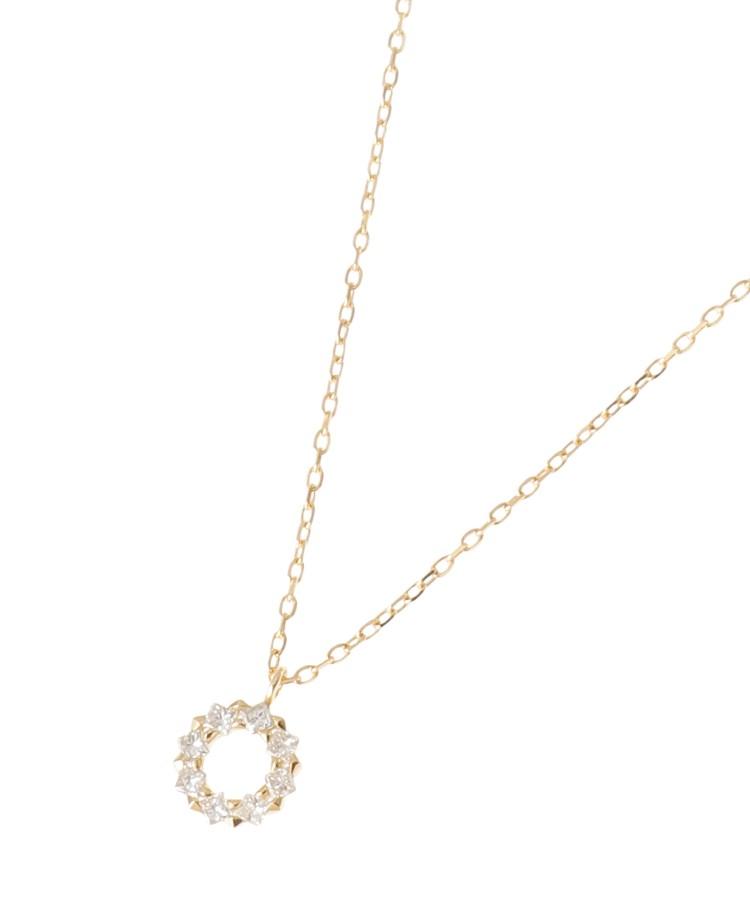 COCOSHNIK(ココシュニック)K18ダイヤモンド プリンセスカットフープ ネックレス 大