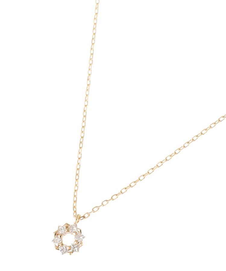 COCOSHNIK(ココシュニック)ダイヤモンド プリンセスカットフープ ネックレス 小