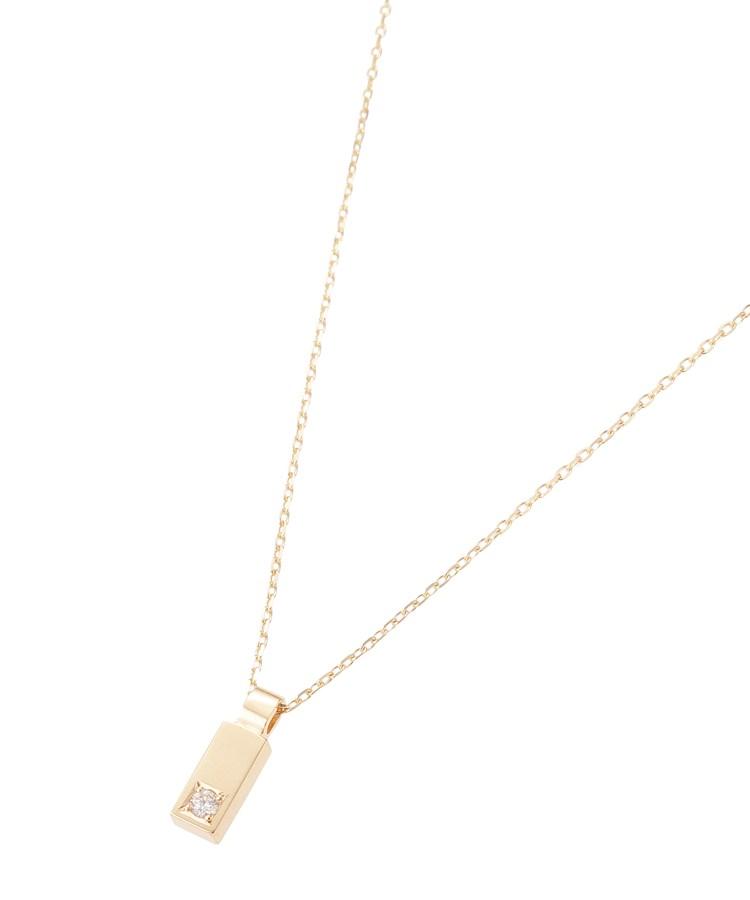COCOSHNIK(ココシュニック)ダイヤモンド レクタングル彫り留め ネックレス
