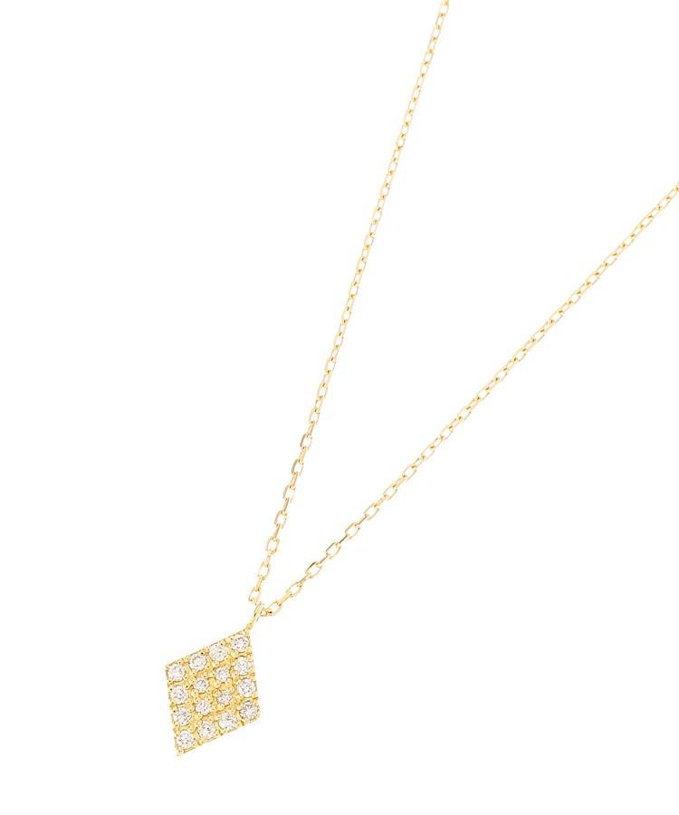 COCOSHNIK(ココシュニック)K18ダイヤモンド パヴェひし形 ネックレス大