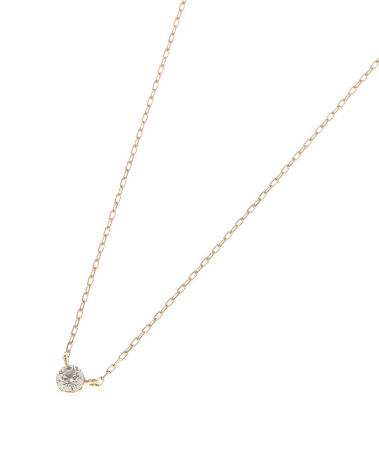 COCOSHNIK(ココシュニック)K18ダイヤモンド シークレット留めネックレス小
