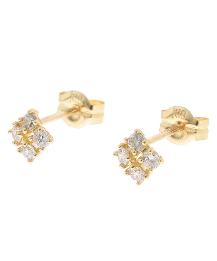 COCOSHNIK(ココシュニック)K18ダイヤモンド爪留4石 スタッドピアス