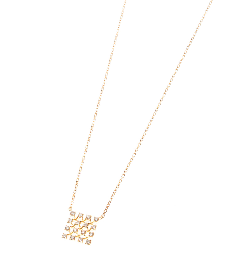 COCOSHNIK(ココシュニック)(K18)ダイヤモンド レーススクエアモチーフ ネックレス大
