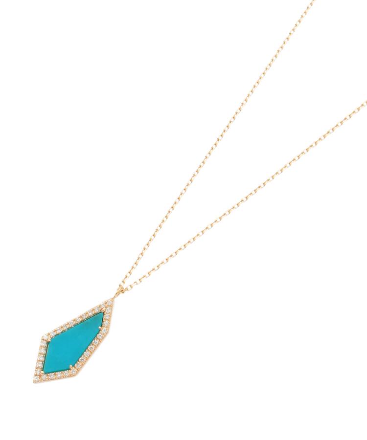 COCOSHNIK(ココシュニック)カラーストーン(ターコイズ×ダイヤ)平石ネックレス大