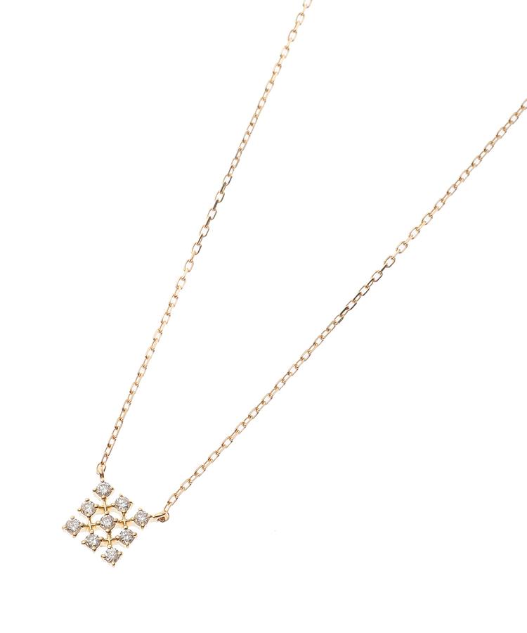 COCOSHNIK(ココシュニック)(K18)ダイヤモンド レーススクエアモチーフ ネックレス小