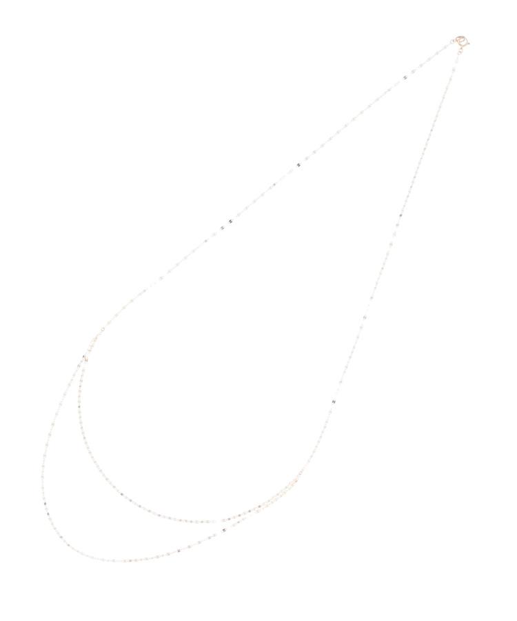 COCOSHNIK(ココシュニック)フラワークロスチェーン2連ドレープ ロングネックレス