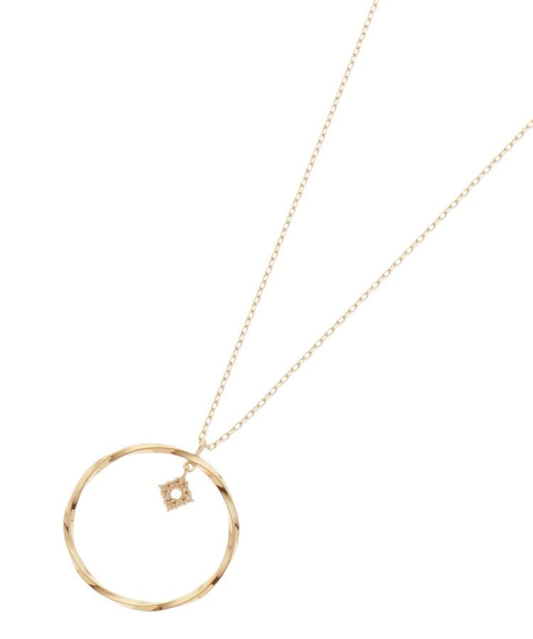 COCOSHNIK(ココシュニック)ダイヤモンド ひし形 ツイストフープ ネックレス