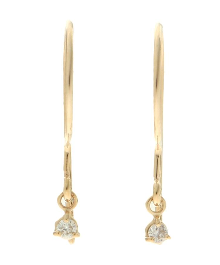 COCOSHNIK(ココシュニック)ダイヤモンド3つ爪 変形フックピアス