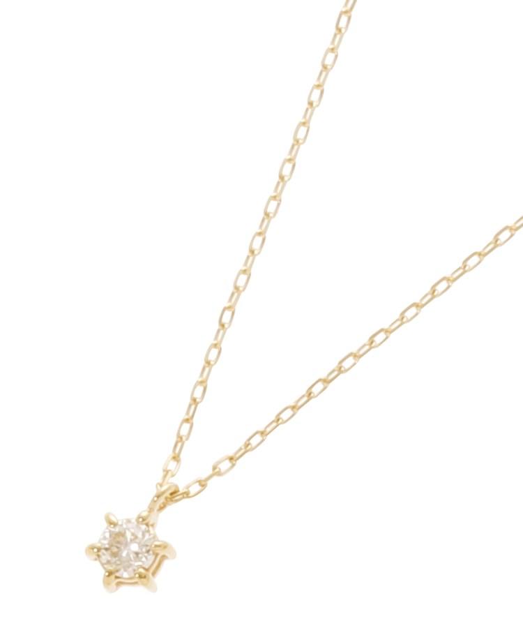 COCOSHNIK(ココシュニック)ダイヤモンド 6本爪 スルーネックレス