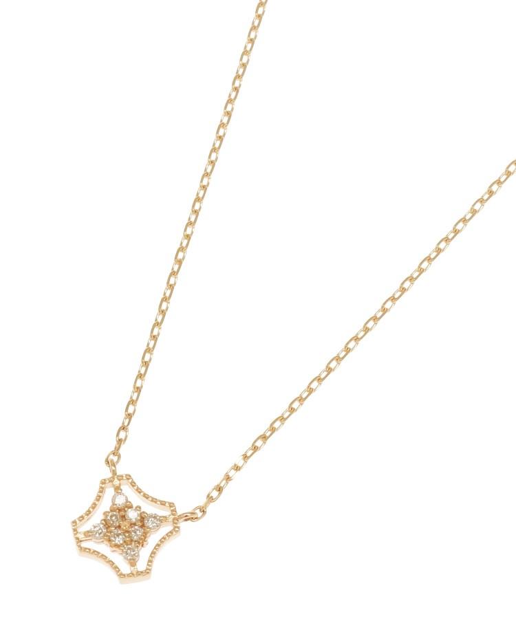 COCOSHNIK(ココシュニック)ダイヤモンド フチミル変形スクエア ネックレス
